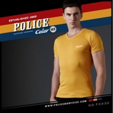 POLICE FREESIZE YELLOW PRINTED SHORT SLEVEE T- SHIRT FC.032