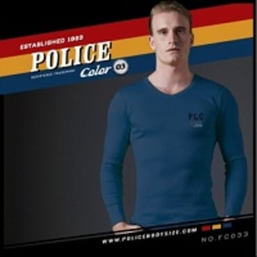 POLICE FC.033 FREESIZE NAVY BLUE PRINTED LONG SLEEVE T-SHIRT