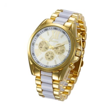 Geneva 9708 White Gold Plated Watch