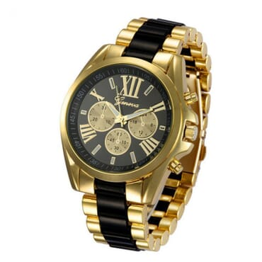 Geneva 9708 Black Gold Plated Watch
