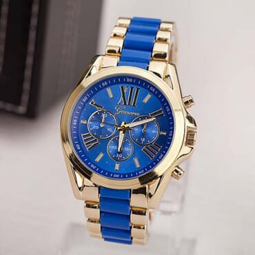 Geneva 9708 Dark Blue Gold Plated Watch