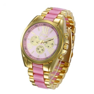 Geneva 9708 Lite Pink Gold Plated Watch