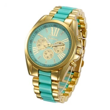 Geneva 9708 Mint Green Gold Plated Watch