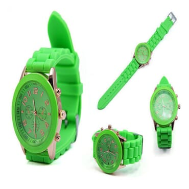 Geneva 9704 Silicone Wrist Watches - Green