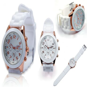 Geneva Silicone 9704 Wrist Watches - White