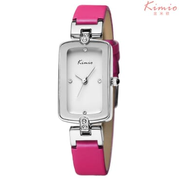 KIMIO Silver Crystal Leather Quartz Wrist Watches - KW503 - Pink