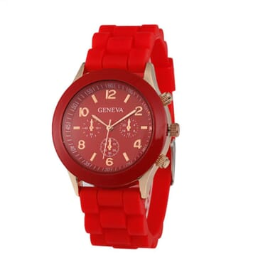 Geneva Silicone 9704 Unisex Wrist Watches-Red
