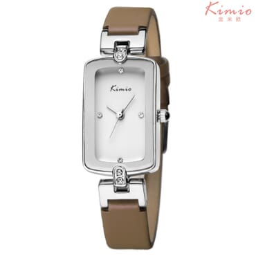 Kimo silver crystal leather quartz wrist watches - KW503 - Brown