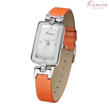 KIMIO Silver Crystal Leather Quartz Wrist Watches - KW503 - Orange