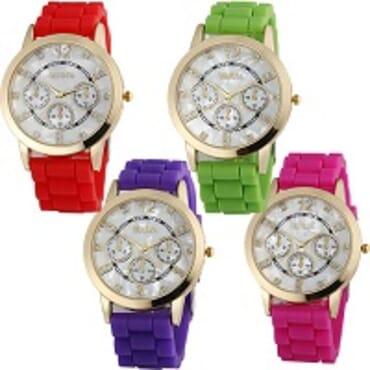 Geneva 9705 Purple Red Green Dark Pink Silicone 4 in 1 Wrist Watch Bundle