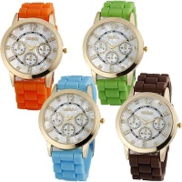 Geneva 9705 Silicone 4 in 1 Wrist Watch Bundle