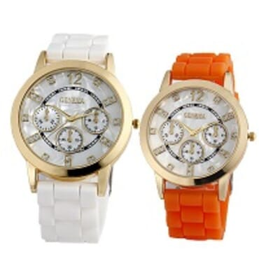 Geneva 9705 White Orange Silicone 2 in 1 Wrist Watch Bundle