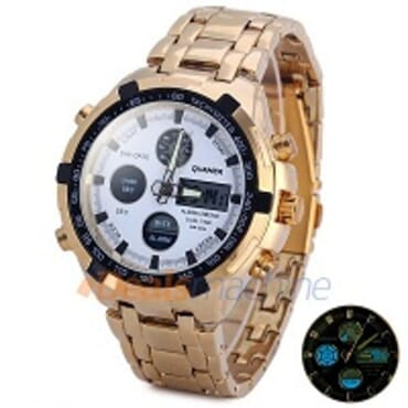 Quamer Gold Plated White Face Led Digital Quartz Wrist Watch
