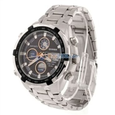 Quamer Silver Black Face LED Digital Quartz Wrist Watch