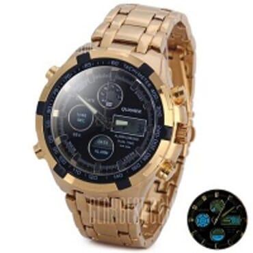 Quamer Gold Black Face Led Digital Quartz Wrist Watches