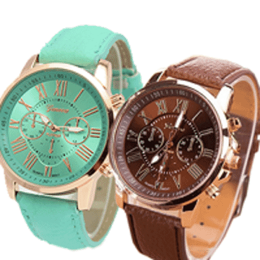 Geneva 9701 Mint Green Brown Leather 2 in 1 Wrist Watches Bundle