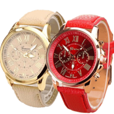 Geneva 9701 Cream Red Leather 2 in 1 Wrist Watches Bundle