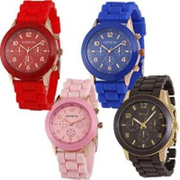 Geneva 9704 Red Dark Blue Lite Pink Brown Silicone 4 in 1 Wrist Watch Bundle