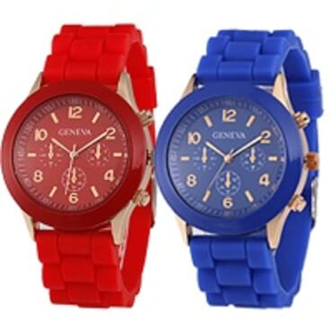 Geneva 9704 Red Dark Blue Silicone 2 in 1 Wrist Watch Bundle