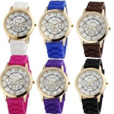 Geneva 9705 Brown Black White Dark Blue Red Purple Silicon 6 in 1 Wrist Watches Bundle