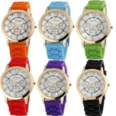 Geneva 9705 Silicone 6 in 1 Wrist Watch Bundle
