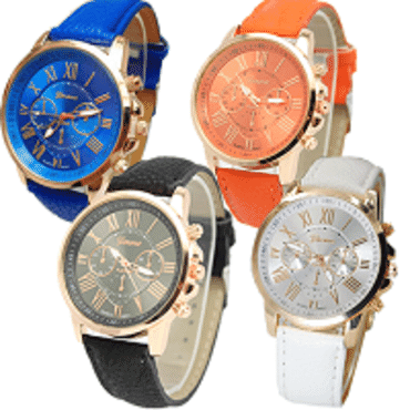 Geneva 9701 Dark Orange Blue Black White Leather 4 in 1 Wrist Watches Bundle