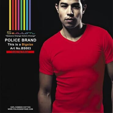 POLICE BIGSIZE BS 003 V-NECK T-Shirt-ORANGE/LIGHT BLUE/ROYAL BLUE/GREEN/MUSTARD/RED/PURPLE