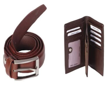 Leather Wallet and Belt Bundle