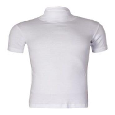 Uzem white Turtle Neck Bodysize shortsleeve T-Shirt Size M-Large
