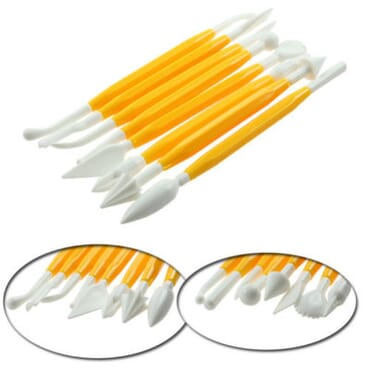8 Piece Double Ended Fondant Cake Decorating Sugarcraft Modelling Tools- Yellow