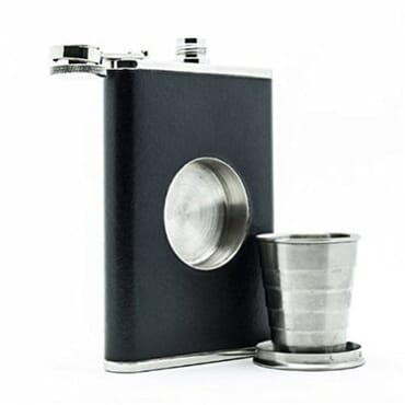 Leather Hip Whisky Flask With Built-in Collapsible Shot Cup