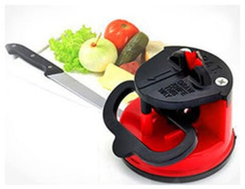 Knife Sharpener With Suction Pad- Red