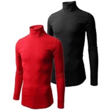 U-zem 2 in 1 Black and Red Turtle Neck T Shirts