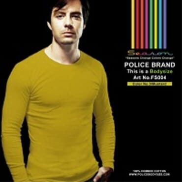 POLICE FS.004 FREESIZE PLAIN MUSTARD LONG SLEEVE T-SHIRT