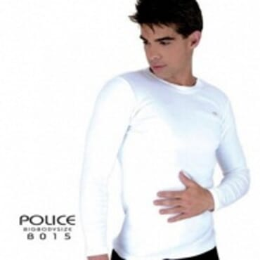 POLICE B.015 BIGSIZE PLAIN BLACK/WHITE/GREY LONG SLEEVE T- SHIRT