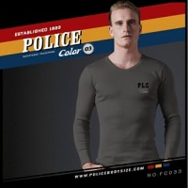 POLICE FC.033 FREESIZE GREY PRINTED LONG SLEEVE T- SHIRT