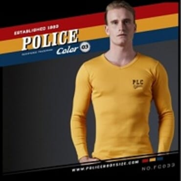 POLICE FC.033 FREESIZE YELLOW PRINTED LONG SLEEVE T-SHIRT