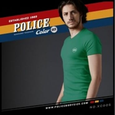 POLICE EXTRA SIZE GREEN PRINTED SHORT SLEEVE T- SHIRT XC.005