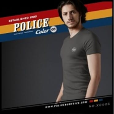 POLICE EXTRA SIZE GREY PRINTED SHORT SLEEVE T- SHIRT XC.005