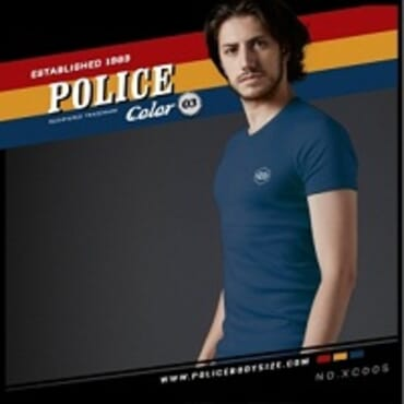 POLICE EXTRA SIZE NAVY BLUE PRINTED SHORT SLEEVE T- SHIRT XC.005