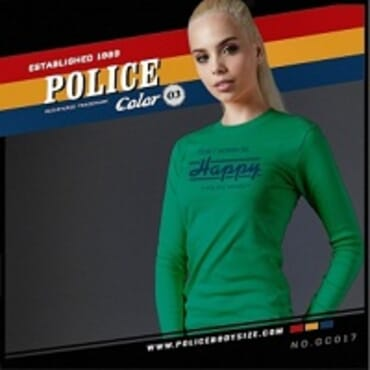 POLICE GC.017 BODYGIRL GREEN PRINTED LONG SLEEVE T-SHIRT
