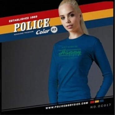 POLICE GC.017 BODYGIRL NAVY BLUE PRINTED LONG SLEEVE T-SHIRT