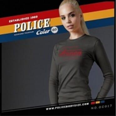 POLICE GC.017 BODYGIRL GREY PRINTED LONG SLEEVE T-SHIRT