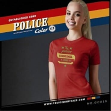 POLICE BODYGIRL RED PRINTED SHORT SLEEVE T-SHIRT GC.015