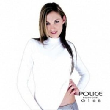 POLICE G.168 BODYGIRL WHITE/BLACK/GREY TURTLE NECK LONG SLEEVE T-SHIRT