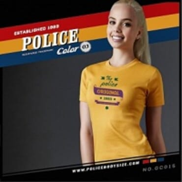 POLICE BODYGIRL YELLOW PRINTED SHORT SLEEVE T-SHIRT GC.015