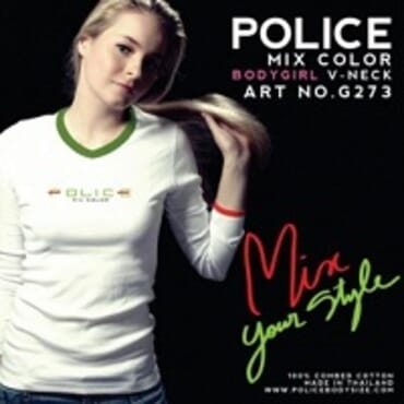 POLICE G.273 BODYGIRL WHITE PRINTED LONG SLEEVE T-SHIRT