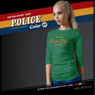 POLICE GC.019 BODYGIRL GREEN PRINTED LONG SLEEVE T-SHIRT