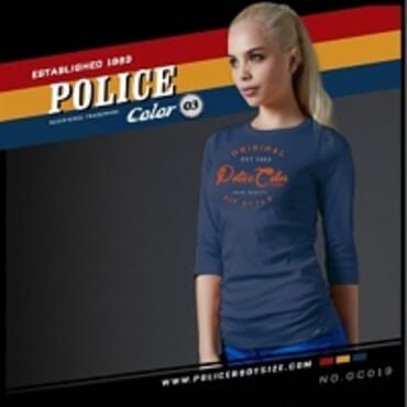 POLICE GC.019 BODYGIRL NAVY BLUE PRINTED LONG SLEEVE T-SHIRT