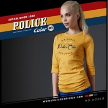POLICE GC.019 BODYGIRL YELLOW PRINTED LONG SLEEVE T-SHIRT